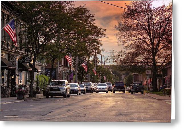 Greeting Card featuring the photograph Cottage Street Evening Sunset by Sven Kielhorn