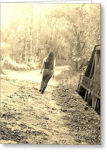 Country Girl Walking  Greeting Card