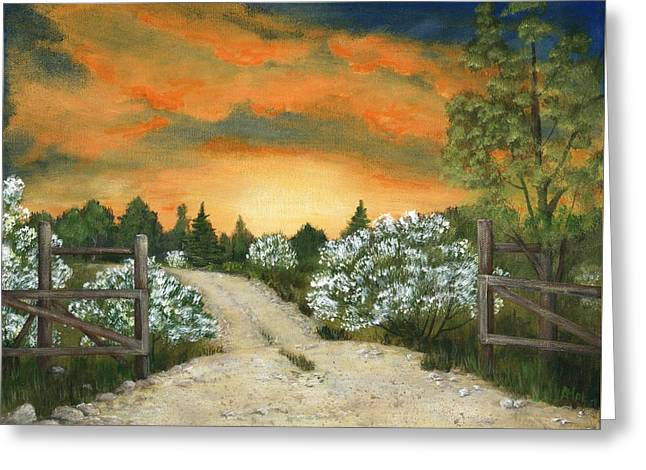 Greeting Card featuring the painting Country Road by Anastasiya Malakhova