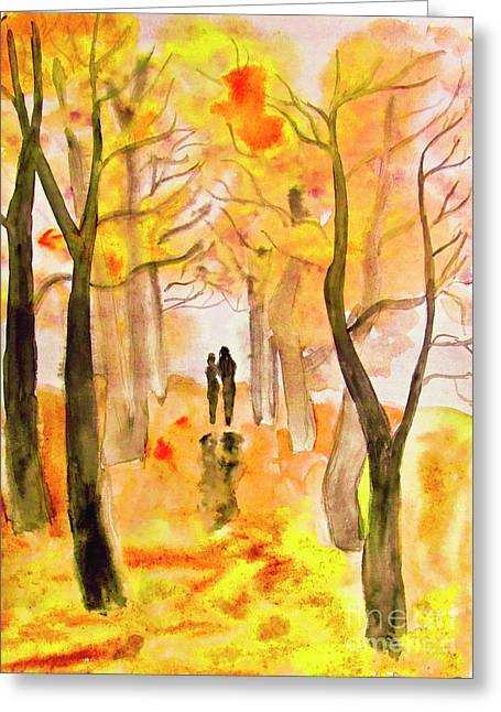 Couple On Autumn Alley, Painting Greeting Card