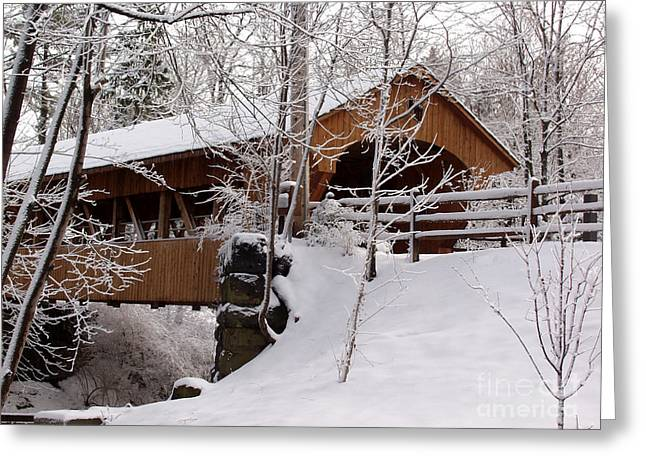 Covered Bridge At Olmsted Falls - 2 Greeting Card