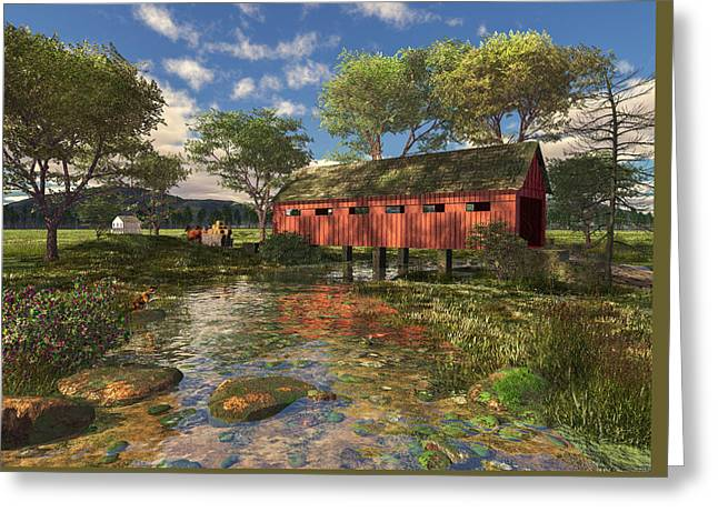 Covered Bridge Greeting Card by Mary Almond