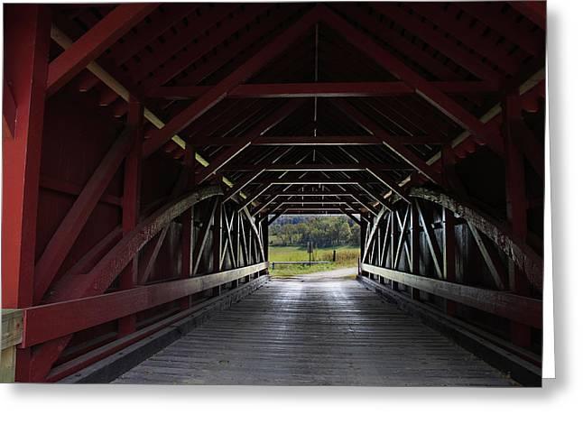 Inside A Covered Bridge Greeting Card