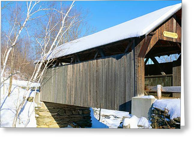 Covered Bridge, Stowe, Winter, Vermont Greeting Card by Panoramic Images