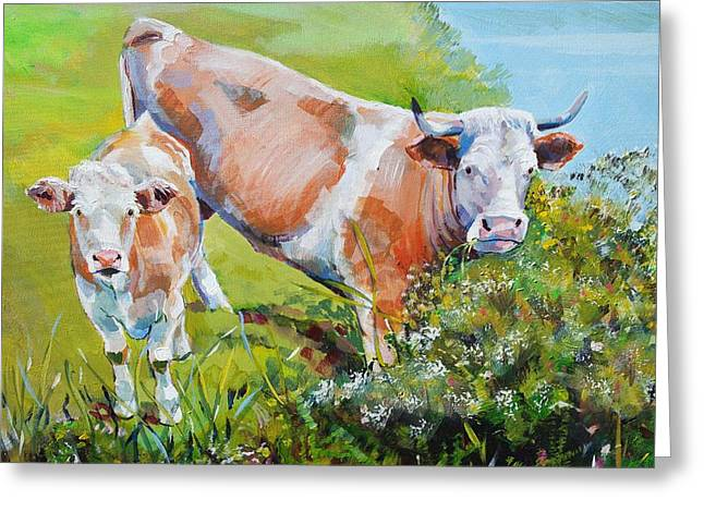 Cow And Calf Painting Greeting Card