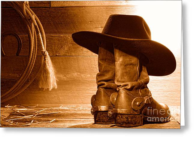 Cowboy Hat On Boots - Sepia Greeting Card by Olivier Le Queinec