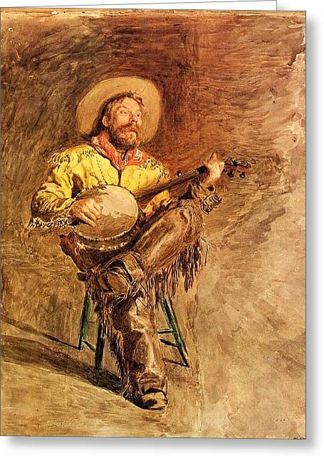 Cowboy Singing Greeting Card by Mountain Dreams