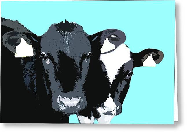 Cows - Blue Greeting Card