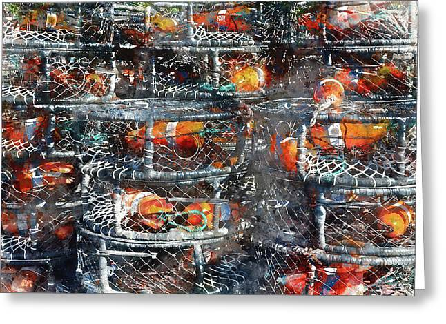 Crab Pots Greeting Card by Brandon Bourdages