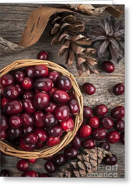 Cranberries In Basket Greeting Card by Elena Elisseeva