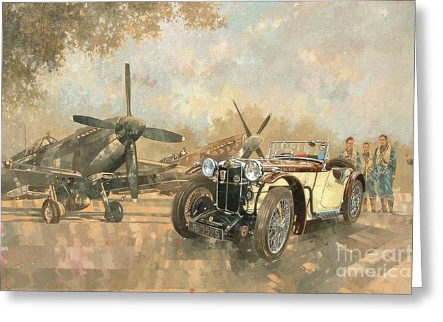 Vintage Air Planes Greeting Cards - Cream Cracker MG 4 Spitfires  Greeting Card by Peter Miller