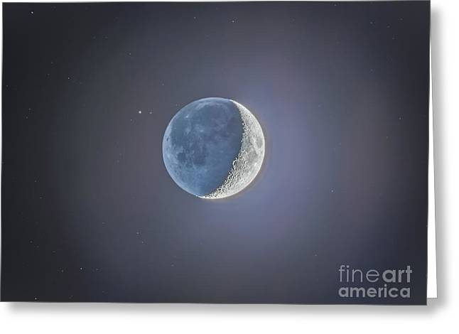 Crescent Moon With Earthshine Greeting Card by Alan Dyer