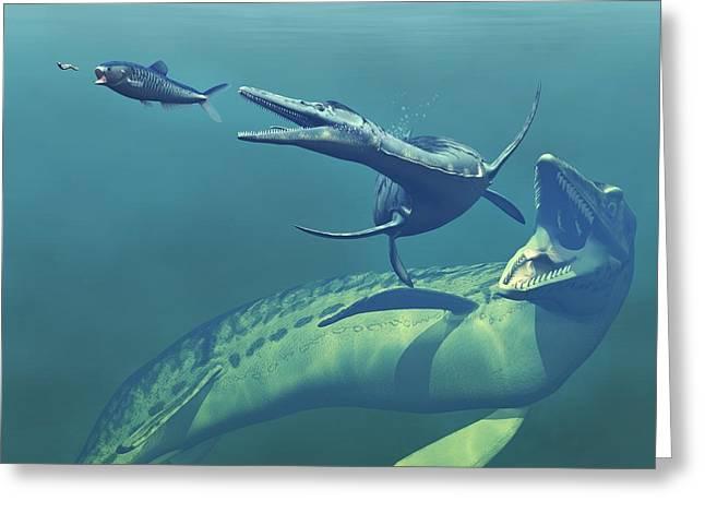 Cretaceous Marine Predators, Artwork Greeting Card