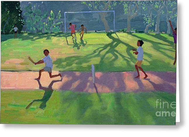 Cricket Paintings Greeting Cards - Cricket Sri Lanka Greeting Card by Andrew Macara