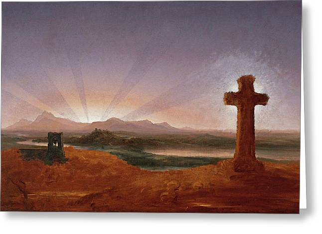 Cross At Sunset Greeting Card by Thomas Cole