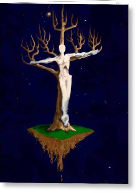 Greeting Card featuring the digital art Crucifix by Steve  Hester