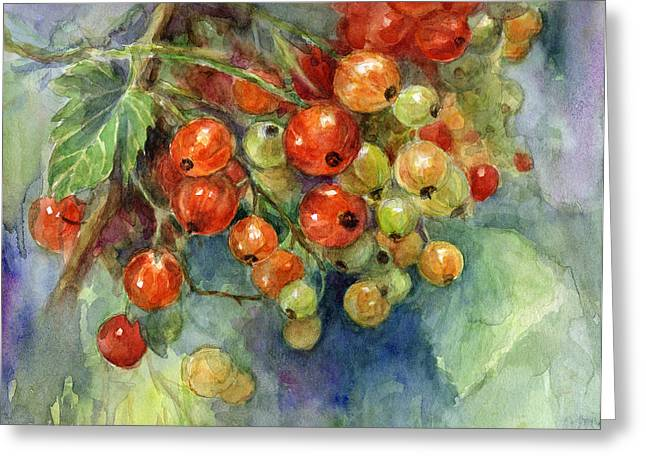 Subdued Greeting Cards - Currants berries painting Greeting Card by Svetlana Novikova