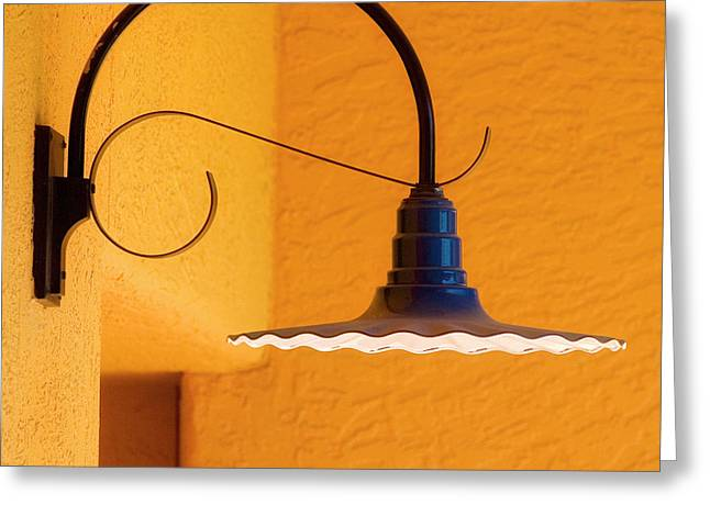 Curved Outdoor Light Bright Yellow Wall Greeting Card