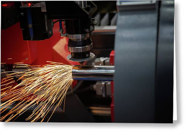 Cutting Of Sheet Metal. Sparks Fly From Laser By Automatic Cutti Greeting Card by Anek Suwannaphoom