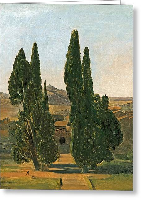 Cypress Trees At The Villa D'este Greeting Card by Charles Lock Eastlake