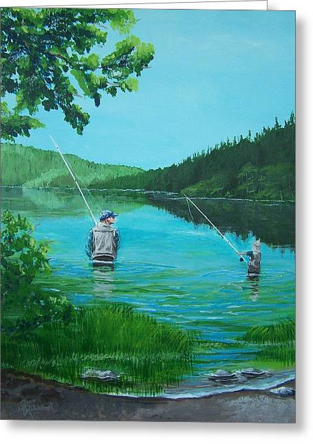 Dad And Son Fishing Greeting Card by Gene Ritchhart