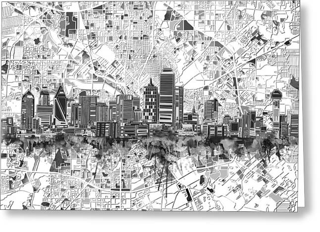 Dallas Skyline Map Black And White 5 Greeting Card