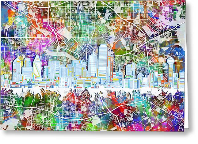 Dallas Skyline Map Color 4 Greeting Card