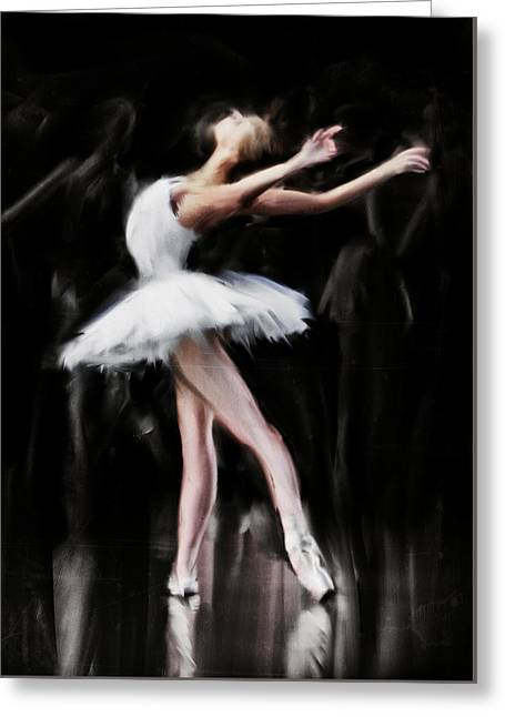 Dancer In White Greeting Card by H James Hoff