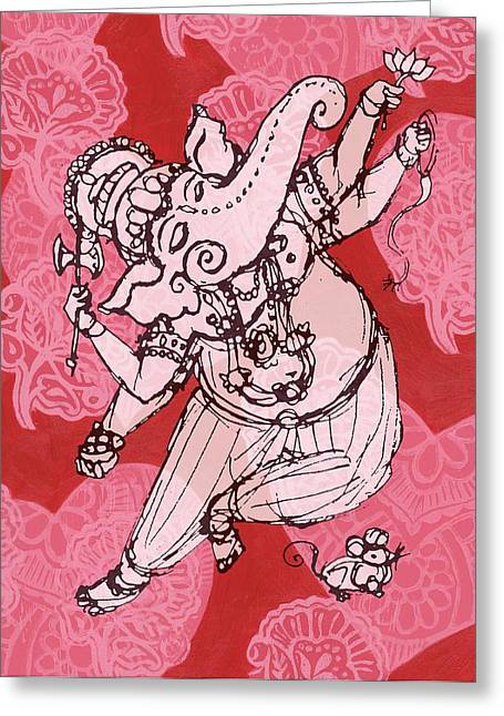 Dancing Ganesha Greeting Card by Jennifer Mazzucco