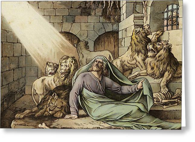 Daniel In The Lion's Den Greeting Card