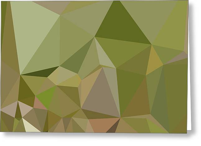 Dark Olive Green Abstract Low Polygon Background Greeting Card