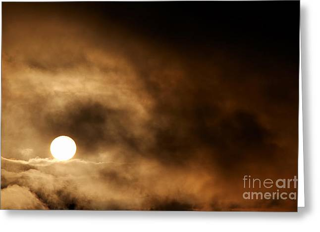 Dark Storm Clouds And Setting Sun Greeting Card