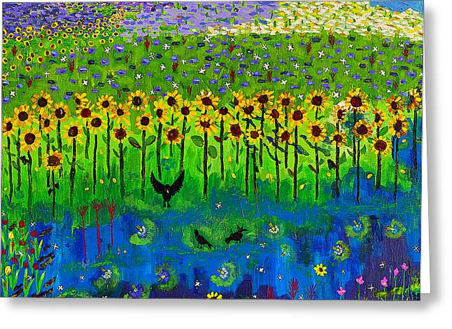 Day And Night In A Sunflower Field  Greeting Card