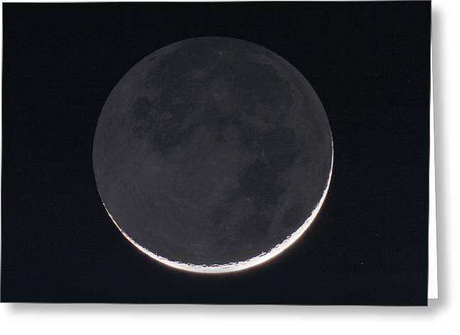 1 Day Old Moon With Earthshine Greeting Card by Eckhard Slawik