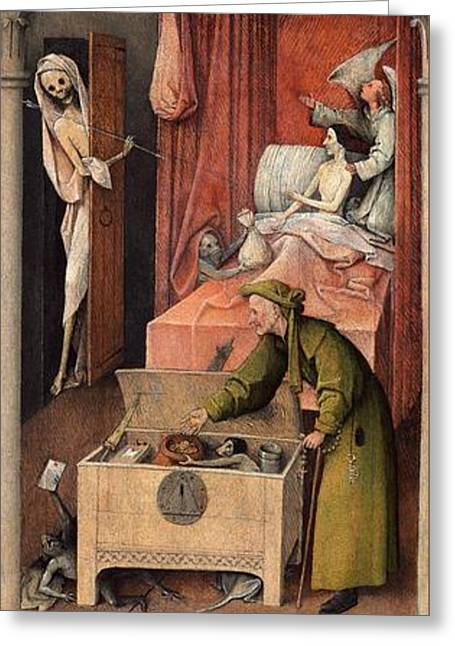 Death And The Miser Greeting Card by Hieronymus Bosch