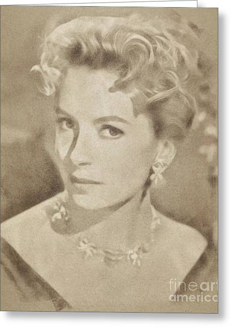 Deborah Kerr, Vintage Actress. Digital Art By John Springfield Greeting Card by John Springfield