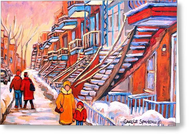 Debullion Street Winter Walk Greeting Card by Carole Spandau
