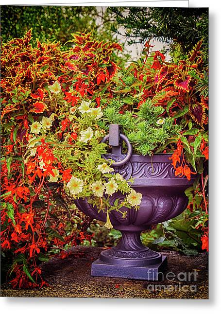Greeting Card featuring the photograph Decorative Flower Vase In Garden by Ariadna De Raadt