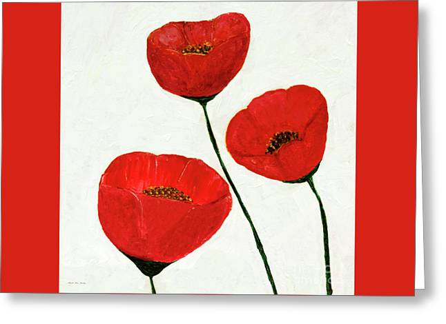 Greeting Card featuring the painting Decorative Poppies Acrylic Painting C62017 by Mas Art Studio