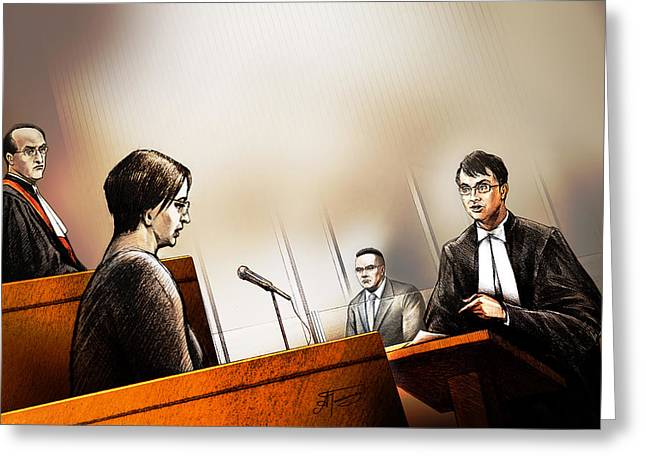 Defence Attorney Dirk Derstine At The Tori Stafford Murder Trial In London Greeting Card by Alex Tavshunsky