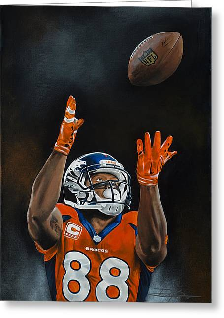Demaryius Thomas Greeting Card by Don Medina