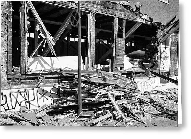 Demolishing Stucco Corrugated Iron Clad Wood Framed Building Reykjavik Iceland Greeting Card by Joe Fox