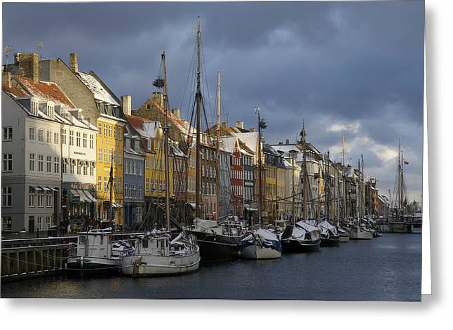 Denmark, Copenhagen, Nyhavn, Boats Greeting Card by Keenpress