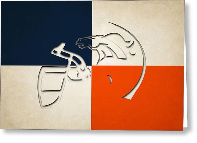 Denver Broncos Helmet Greeting Card by Joe Hamilton
