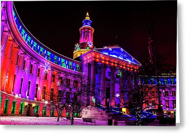 Denver City And County Building Holiday Lights Greeting Card