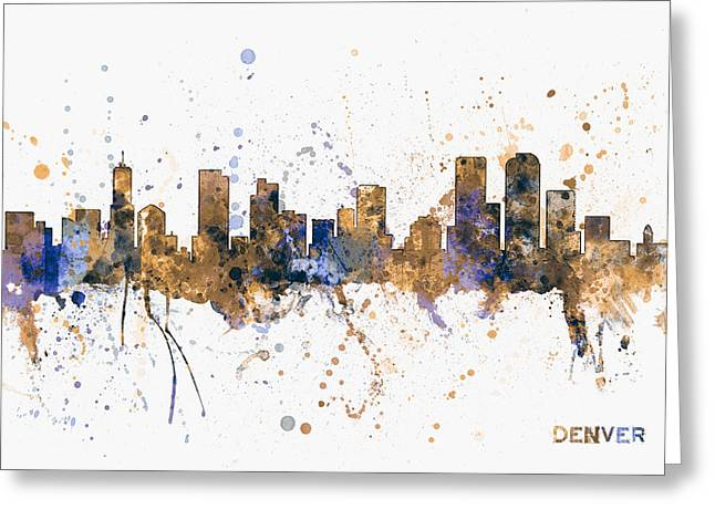 Denver Colorado Skyline Cityscape Greeting Card by Michael Tompsett
