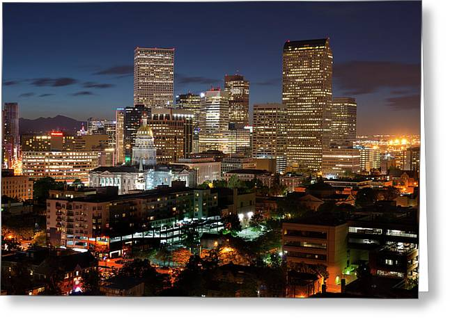 Denver Evening Skyline Greeting Card by Steve Mohlenkamp