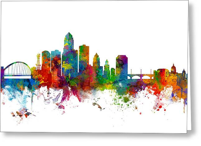 Des Moines Iowa Skyline Greeting Card by Michael Tompsett