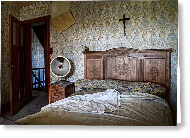 Deserted Bed Room - Urban Exploration Greeting Card by Dirk Ercken