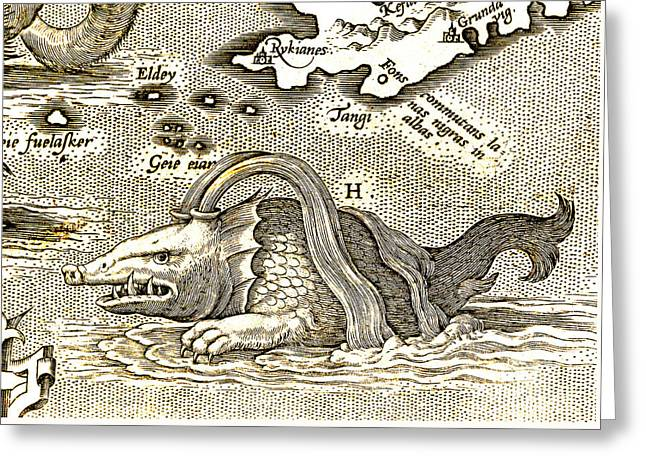 Detail Of Geographical Map Depicting Monstrous Sea Creature Greeting Card